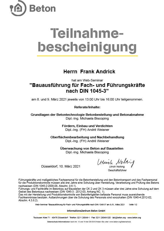 Teilnahmebescheinigung Betonausführung nach DIN 1045-3
